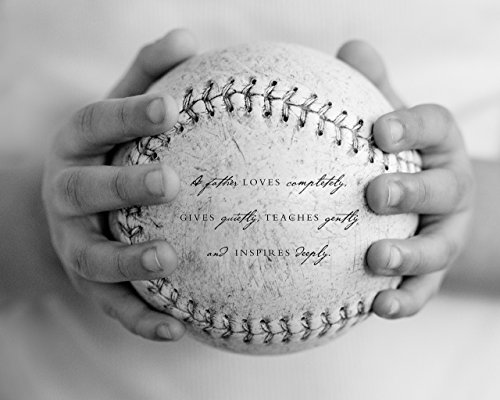 Baseball Wall (Baseball Sports Home Decor Wall Art Print with Dad Quote, Unique Fathers Day Gift for Dad from Kids)