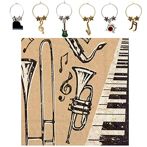 - Jazz Musician Wine Charms and Music Note Cocktail Napkins Set - Includes 6 Metal Musical Instrument Wine Markers and 20 Paper Beverage Napkins