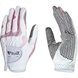 PGM Women's Golf Glove One Pair, Improved Grip System, Cool and Comfortable (white pink, S)