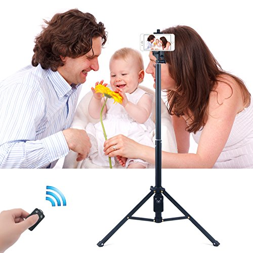 Eocean 54 Inch Selfie Stick Tripod, 3 in 1 Extendable iPhone Self-portrait Monopod, Handheld Tripod, Video Tripod for Cellphone and Camera, with Bluetooth Remote Shutter for Cellphone and Camera