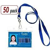 Aobear 50 pcs Waterproof Transparent Horizontal Name Tag id Badges and Blue lanyards(Metal Swivel J-Hook)