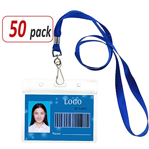 Aobear 50 pcs Waterproof Transparent Horizontal Name Tag id Badges and Blue lanyards(Metal Swivel J-Hook) by Aobear