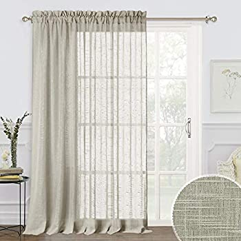 RYB HOME Eatra Wide Sheer Curtains - Sliding Glass Door Curtains Linen Textured Window Panels for Bedroom Living Room, Rural Pastoral Drapery for Farmhouse Patio Door, Taupe, 100 x 84, 1 Pc