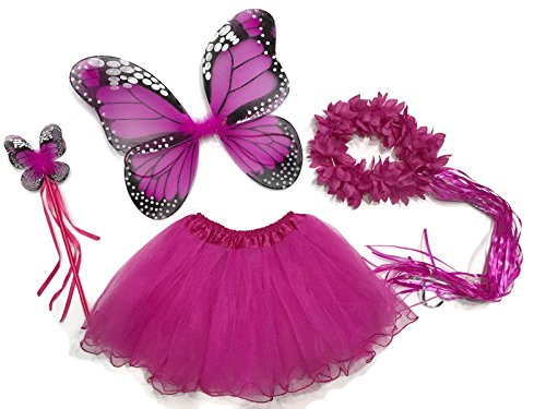 [Rush Dance Ballerina Princess Fairy Dress up - Monarch Wings, Wand, Halo & Tutu (Hot Pink)] (Batman And Robin Tutu Costumes)