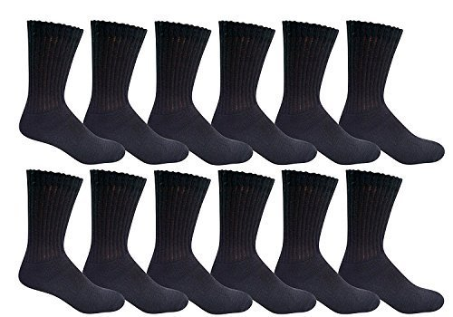 12 Pairs of Men's excell Diabetic Crew Socks, Ringspun Cotton, Neuropathy Edema Socks, King Size (13-16, Black) -