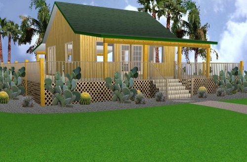 24x24 Cabin w/Covered Porch Plans Package, Blueprints, Material List by Easy Cabin Designs