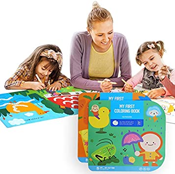 Kids Coloring Book Baby Cognitive Graffiti Coloring Books Coloring Pages Toddler Doodle Drawing Book Art and Craft Coloring Pad Paper Explorer Great Gift for 1-3 Years Old Boys Girls Gourmet