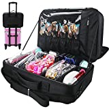 Relavel Makeup Train Case Travel Makeup Bag Cosmetic Organizer Extra Large Capacity Makeup Case with Adjustable Shoulder Strap and Mirror (super large black)