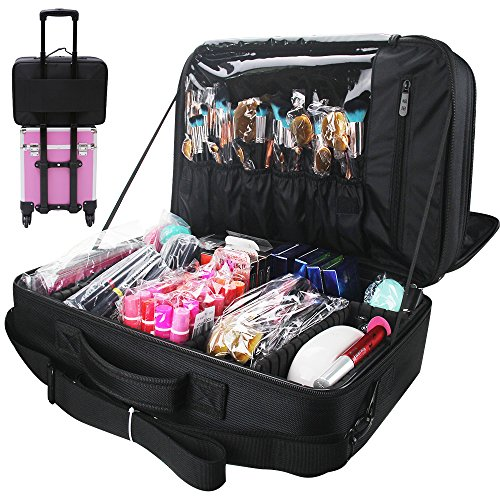 Price comparison product image Travelmall 3 layer Black Multi -Functional Professional Makeup Train Case Cosmetic organizer Artist Box for Makeup Brush Hair style nail beauty tool Attach to Trolley With Mirror for Travel