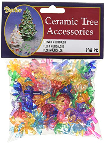 Darice Holiday Ceramic Tree Accessories-Flower Pin-Multi Color-5/8 inch-100 Pieces (1 Pack)