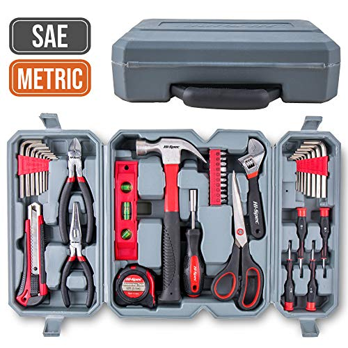 Hi-Spec 50 Piece Home Tool Set of Hand Tools - Claw Hammer, Adjustable Wrench, Precision Screwdrivers, Screw Bits, Long Nose Pliers, Side Cutters, Torpedo Level, Bit Driver & Tool Box Kit - Office Tools Pc