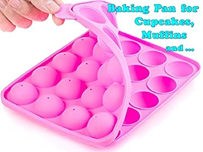 Muffins Baking Pan, Cupcakes Mold, BPA Free, Food Grade, Stain / Odor Resistant, Cookware by BA-PRO for Brownies, Pies, Lollipops, Candies, Jelly and Chocolate,20 Balls Silicone Tray, Not Sticky, Pink