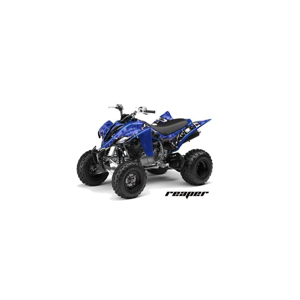 AMR Racing Yamaha Raptor 350 ATV Quad Graphic Kit   Reaper Blue