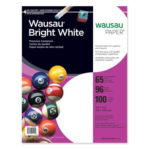 Wholesale CASE of 20 - Wausau Bright White 65lb Cardstock Paper-Cardstock Paper, 65 lb., 8-1/2''x11'', 100/PK, White