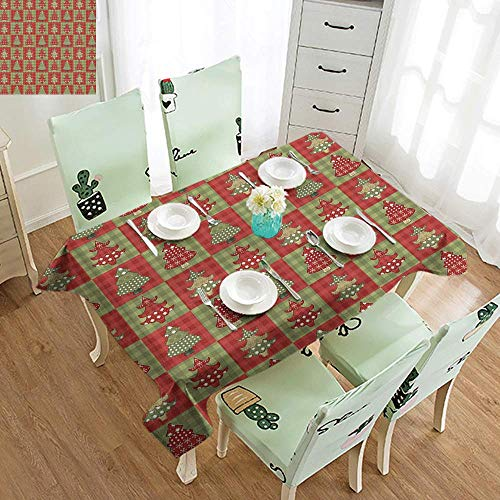 DILITECK Wrinkle Resistant Tablecloth Christmas Different Styled Noel Trees on Checkered Squares Background Vintage Quilt Excellent Durability W60 xL84 Ruby Reseda Green