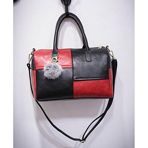 Noir avec léger tendance pratique et capacité rouge Plaid sac à bandoulière Femme pompon Utile main Belle classique à sac joli grand et qwpc8AH