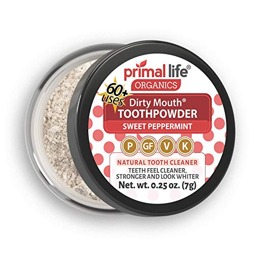 Organics Peppermint Cleanser - Natural Tooth Powder Dirty Mouth Organic Toothpowder (1month) -#1 BEST All Natural Dental Cleanser -Gently Polishes, Whitens, Re-Mineralizes, Strengthens Teeth Better Than toothpaste(Sweet Peppermint)