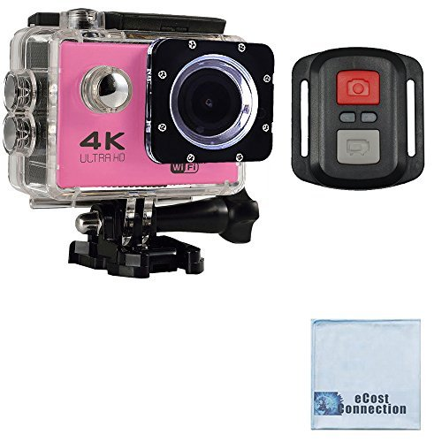 eCostConnection 4K Ultra HD 16MP WiFi Waterproof Sports Action Camera 2.0 (Pink) with Anti-Shake DSP and Wrist RF Remote + eCostConnection Microfiber Cloth [並行輸入品]   B0755FHLKN