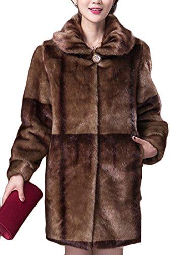 amp;W Fur Mink Faux Coats Warm Lapel 2 amp;S Short Women's Outrwear M FB5q6