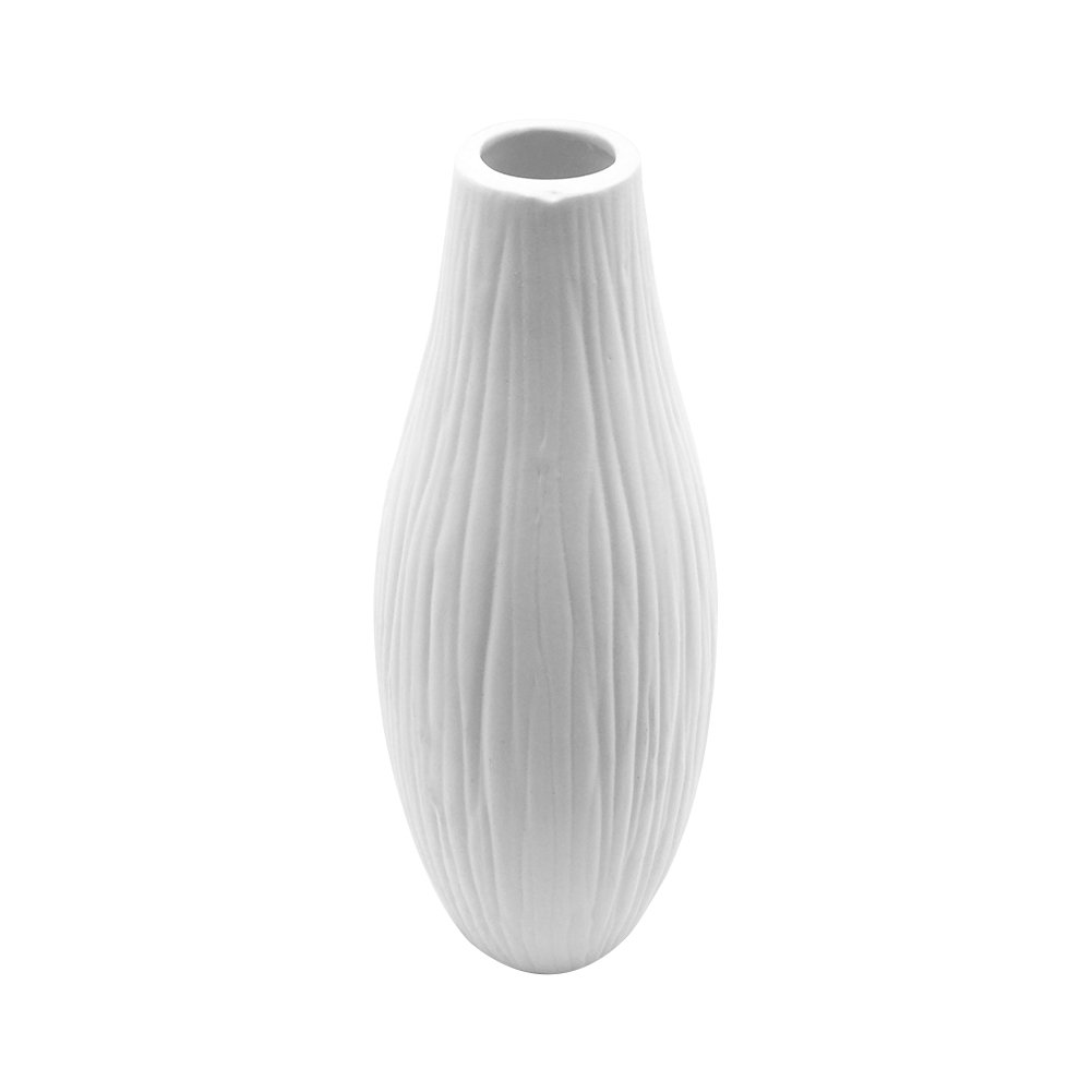 Anding Modern Vase 10.2'' Pure White Ceramic Vase - Tall Oval - Waterfall Texture Elegant Design - Ideal Wedding Gift Perfect Home Decor Vase