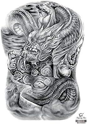 Handaxian Nuevas Grandes Pegatinas de Tatuaje de Espalda Completa ...