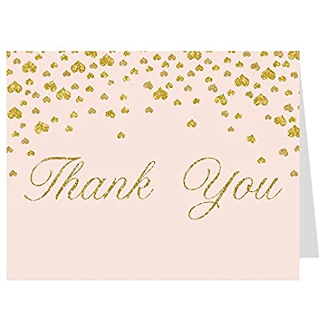 amazon com thank you cards confetti pink gold hearts bridal