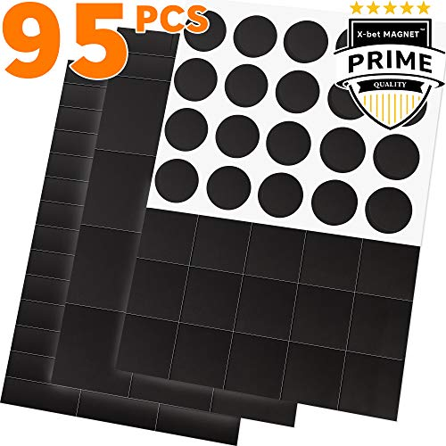 95 Magnetic Squares, Rectangles and Circles with Self Adhesive Backing - Peel & Stick Magnetic Dots and Squares - Flexible Sticky Magnets - Sheets is Alternative to Magnetic Stickers, Tape and Labels