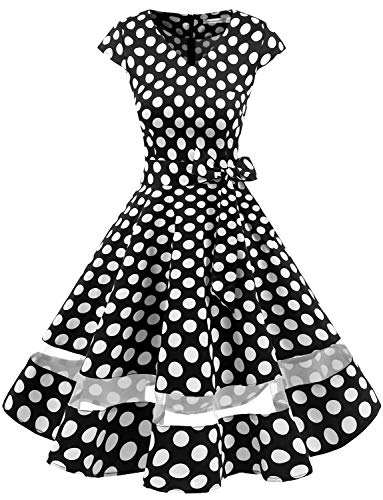 Gardenwed Women's 1950s Rockabilly Cocktail Party Dress Retro Vintage Swing Dress Cap-Sleeve V Neck Black White Dot M