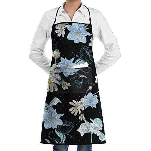 LOGENLIKE Beautiful Daisy Kitchen Aprons, Adjustable Classic Barbecue Apron Baker Restaurant Black Bib Apron with Pockets for Men and Women