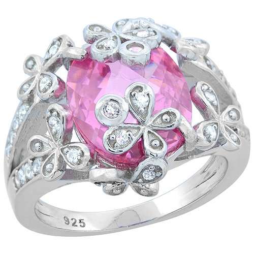 (Sterling Silver Oval Pink Topaz Ring with Flowers CZ Accents Rhodium Finish, 5/8 inch wide, size 9)