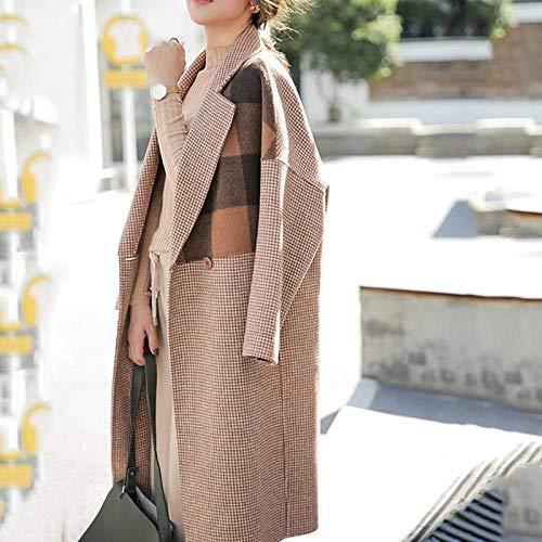 Lana Faccia Realizzato A Da Doppia Cappotto Mano In Gaoqq Cashmere Invernale Motivo s pink s Khaki Con Donna Scozzese qzt4v