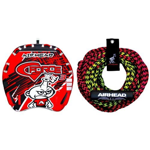 Force Towable (AIRHEAD AHGF-3 G-Force Inflatable Towable and AIRHEAD AHTR-22 Tube Rope 2 Section with Float, 2 Rider Bundle)