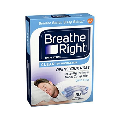 Breathe Right Nasal Strips Clear Large 30 Each (Pack of 12) by Breathe Right