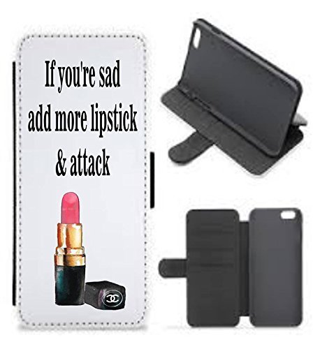 (iphone cellphone wallet case/Galaxy cellphone wallet case/If you're sad add more lipstick & attack wallet phone case/Coco Chanel quote/designer inspired phone case)
