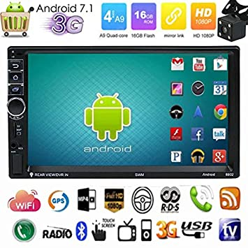 "7/"" Double 2Din Android 4.4 Quad Core Car Stereo GPS Player Radio 3G Wifi Camera"