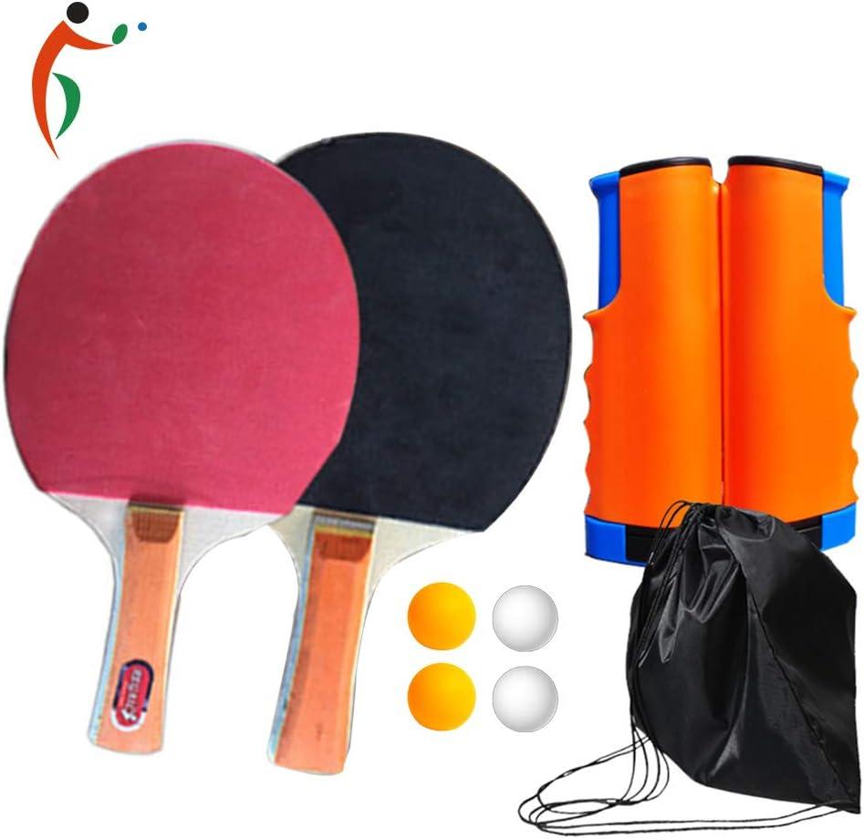YZU Juego de Ping Pong Que Incluye 4 Pelotas de Tenis de Mesa, Accesorio de Bastidor retráctil instantáneo portátil, para los Amantes del Tenis de Mesa de Uso Interior y Exterior