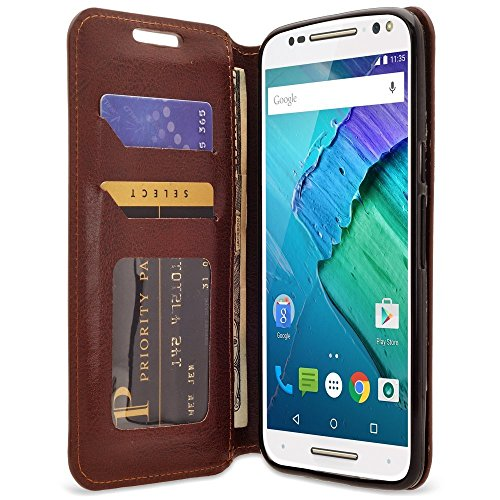 Galaxy Wireless Moto Droid Turbo 2 Case, Moto X Force Case, Kinzie Bounce Case - Magnetic Flip Wallet Case with Stand Feature for Moto Droid Turbo 2/Moto X Force/Kinzie Bounce - Brown Slim Flip Case