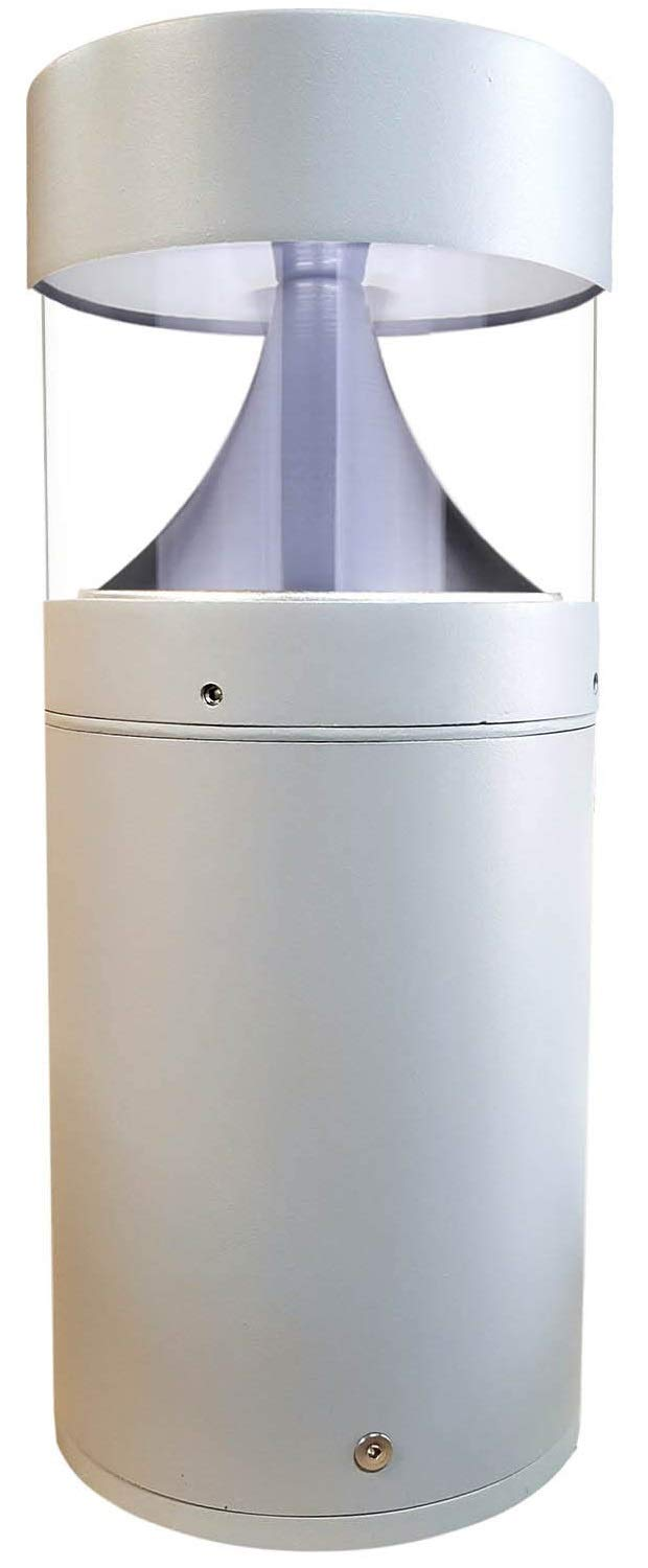 LED Grey Bollard Landscape Lights 15'' 10W 3000K 120-277V Commercial/Residential Lighting Fixture for Garden, Pathway, Driveway. Rated IP65 Suitable for Wet Locations, ETL Listed by harrrrd