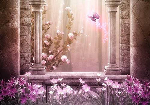 CSFOTO 10x7ft Background for Magic World Fantasy Butterfly Photography Backdrop Stone Architecture Blooming Flowers Purple Leaves Foggy Forest Dreamy Child Kid Photo Studio Props Vinyl Wallpaper