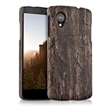 kwmobile Hard case Design vintage wood for LG Google Nexus 5 in dark brown