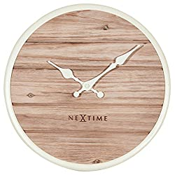 Unek Goods NeXtime Plank Wall Clock, Medium Round, Natural Wooden Face, Ivory Frame & Hands, Battery Operated