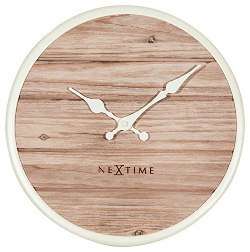 Unek Goods NeXtime Plank Wall Clock, Medium Round, Natural Wooden Face, Ivory Frame & Hands, Battery Operated (Universal Round Wood Clock)