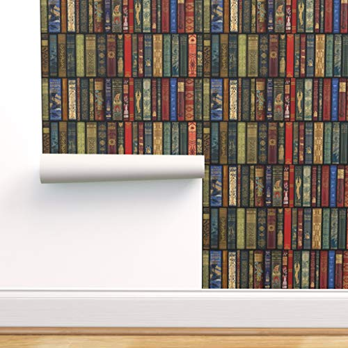 Spoonflower Pre-Pasted Removable Wallpaper, Books Literature Book Library Bookcase Photographic Print, Water-Activated Wallpaper, 24in x 108in Roll