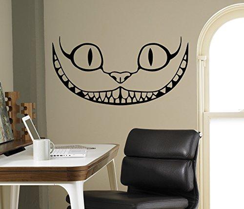 Smiling Cheshire Cat Vinyl Decal Alice in Wonderland Wall Sticker Cartoons Home Interior Children Kids Room Decor 11(aiw) -