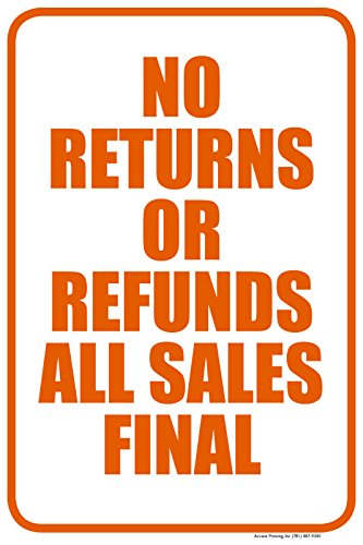 No Returns Or Refunds All Sales Final Parking Sign, 12