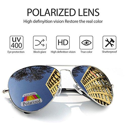 caso Hombre Aviador con 400 conducción Protección 4sold sol el de gafas polarizado UV Silver de vwqTcdqZ