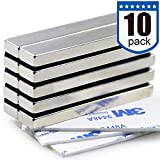 Powerful Neodymium Bar Magnets, Rare-Earth Metal Neodymium Magnet, N45, Incredibly Strong 33 LB Strength - 60 x 10 x 5 mm, Pack of 10
