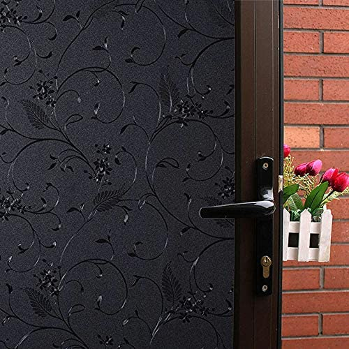 Mikomer Little Flowers Total Blackout Privacy Window Film,100 Light Blocking Glass Door Film,Room Darkening Window Cling,No Glue Heat Control Anti UV for Day Sleep High Privacy,35In. by 157In.