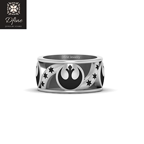 72d408df7fd Star Wars Rebel Band Rebel Alliance Wedding Band For Men Solid 18k White  Gold Mens Jewelry