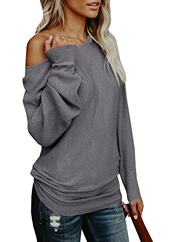 Umeko Womens Off The Shoulder Tops Sweater Oversized Knit Long Sleeve Sweaters Tunic (Long Sleeve Boatneck Tunic)